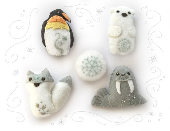 Icy Creatures Felt Animals Plush Pattern, PDF Download for Penguin, Walrus, Polar Bear, Wolf