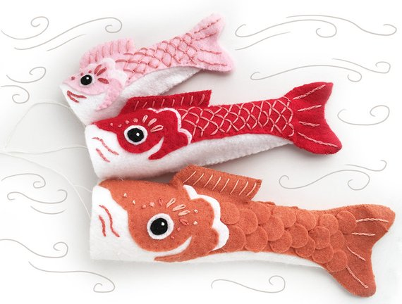 Koinobori Fish Flag plush sewing pattern.