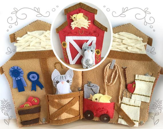 Little Red Barn Quiet Book PDF Sewing Pattern with Felt Animals