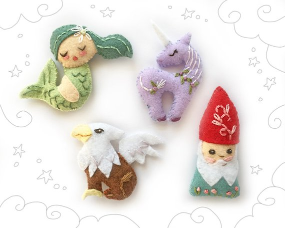Mythical Creatures for Baby Mobile or Felt Ornaments, Unicorn, Mermaid, Gnome, Gryphon