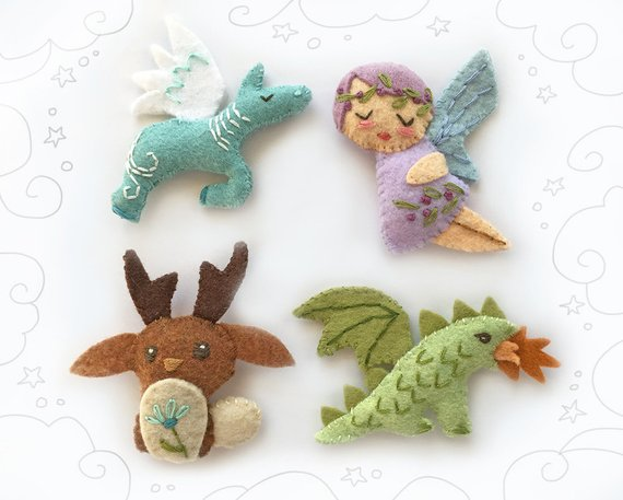 Mythical Creatures Set 2 plush pattern PDF Download for Felt Animals, fairy, dragon, jackelope, pegasus...