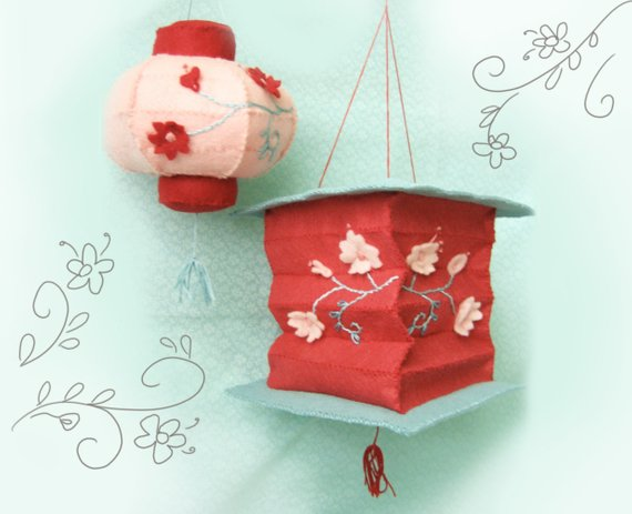Plush Pattern Felt Lanterns. Chinese New Year Decorations.