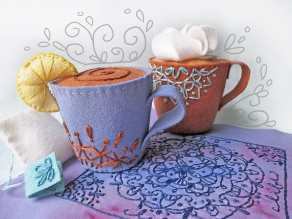 Plush Pattern for I love Coffee and Tea Cup Sewing Pattern