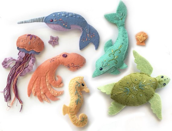 Plush Sewing pattern for 6 different Sea Creatures Felt Animals, PDF Download, Octopus, Narwhal, Dolphin...