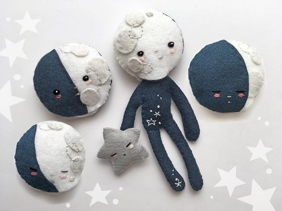 Plush Sewing Pattern for Felt Doll Moon Child and Starbaby moon phases