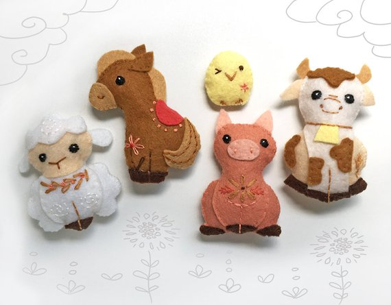 Sewing Pattern for Felt Farm Animals. Finger Puppets