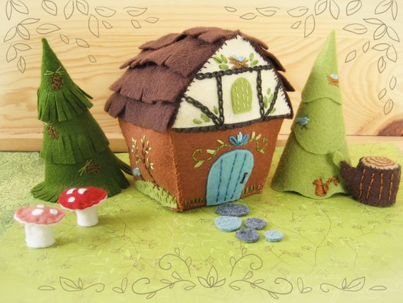 Woodland Cottage Fairy House Plush Sewing Pattern