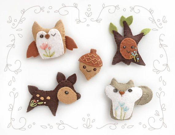 Woodland Creatures Plush sewing pattern Set 2