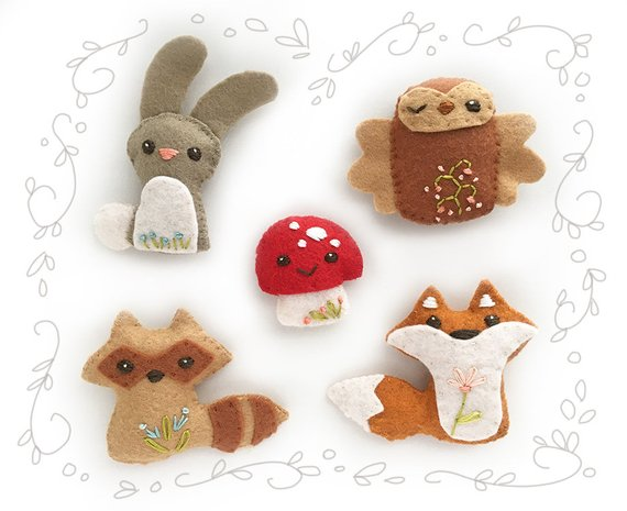 Woodland Creatures Set 1 Felt Plush Animals. Bunny, fox and owl