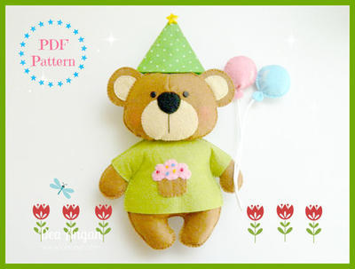 Birthday Bear. Patrón de Fieltro