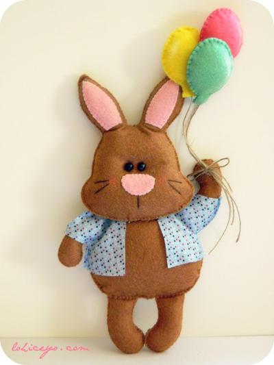 Mr. Bunny and Balloons. Felt Pattern. Plush Pattern