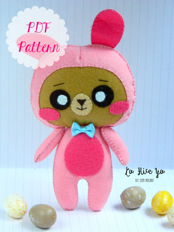 PDF Pattern: Bunny Bear Plush. Kawaii