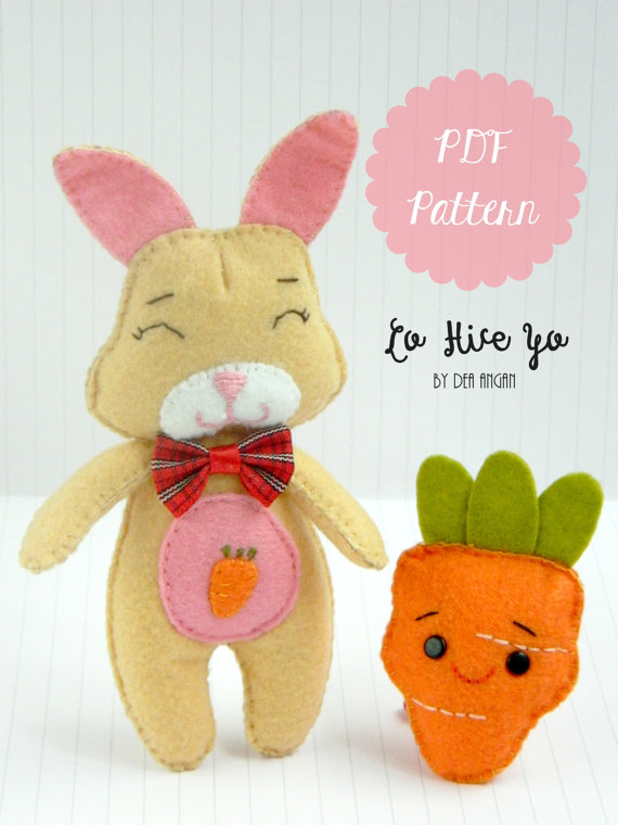 PDF Pattern: Felt Bunny and Carrot