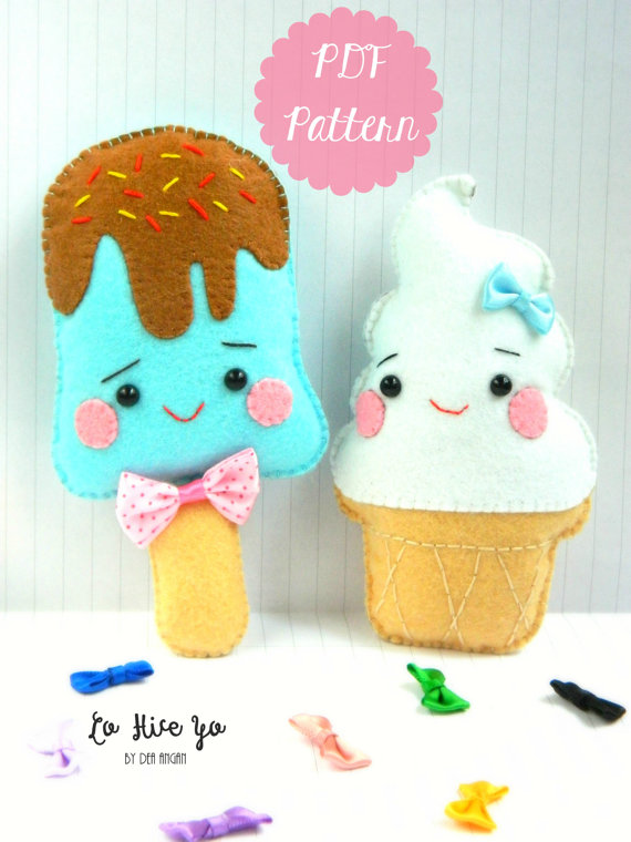 PDF Pattern: Kawaii Ice Cream Plushies