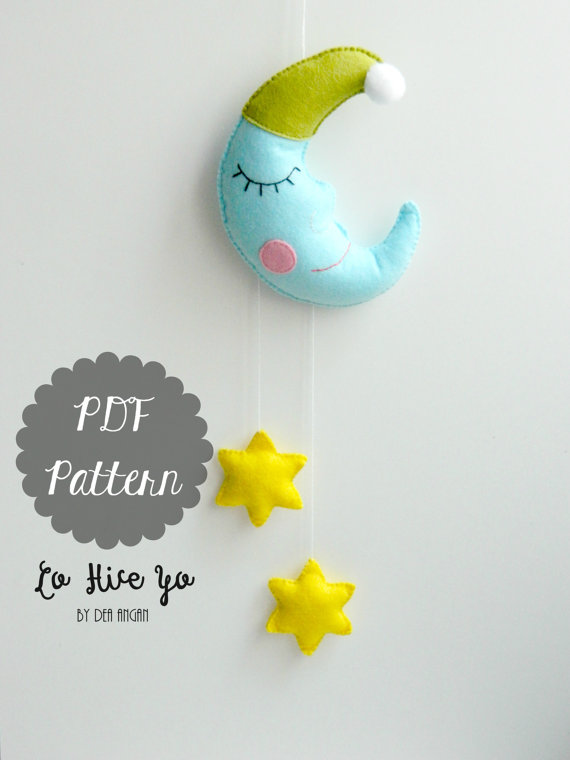 PDF Pattern - Moon and Stars Baby Crib Mobile