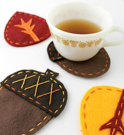 Acorn & Leaf Felt Fall Coasters