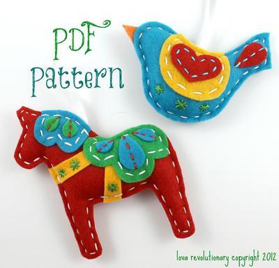 Dala Horse Hand Sewing Pattern Felt Xmas