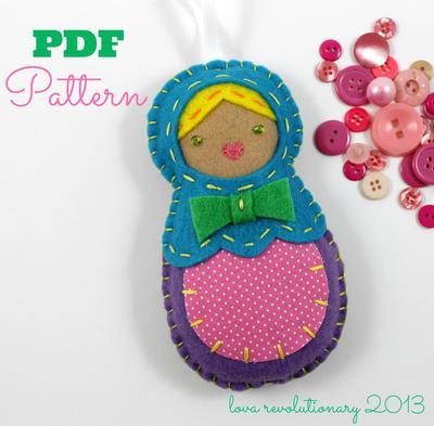 Felt Nesting Doll Ornament PDF Pattern