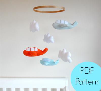 Felt Airplane & Cloud Pattern