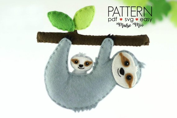Felt Sloth Ornament Pattern