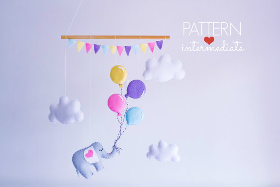 Baby Mobile Pattern - Elephant and Balloons Sewing Pattern