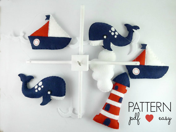 Baby Mobile Sewing Pattern - Boys Nautical Baby Mobile