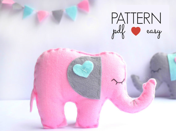 DIY Easy Felt Elephant Sewing Pattern