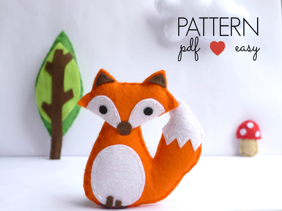 DIY Felt Fox PDF Sewing Pattern - Woodland Plush Toy – Favor – Topper - Baby Mobile - Ornament