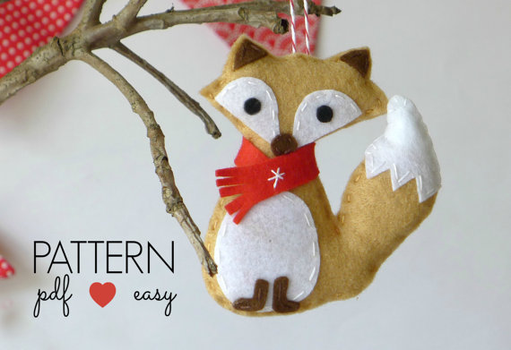 Felt Fox Christmas Decoration -  PDF Pattern