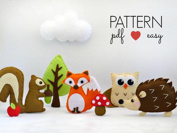 Forest Animals Felt Pattern - Baby Mobile Felt Pattern