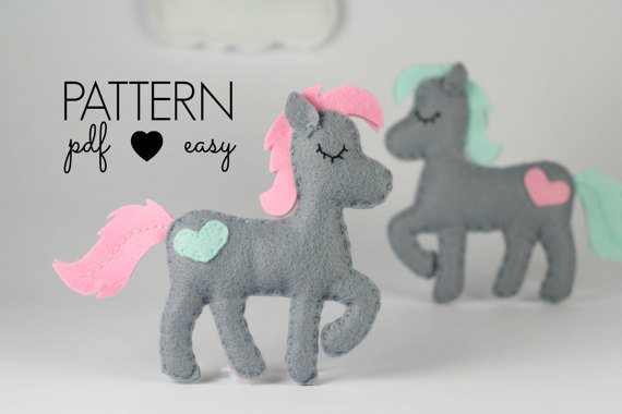 Horse Sewing Pattern - Felt Horse Pattern - Pony Sewing Pattern