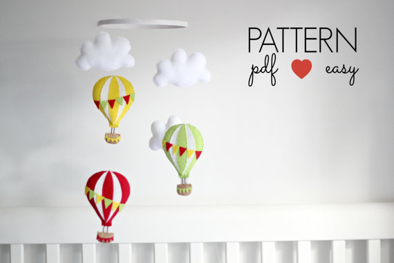 Hot Air Balloon Sewing Pattern - Baby Mobile Pattern