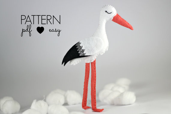 Stork Birth Announcement - Baby Mobile Pattern