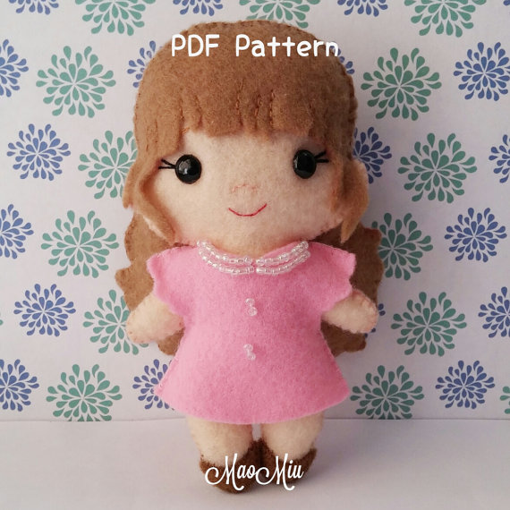 Little Doll Molly PDF Pattern - Cute Kawaii Plushie Felt Chibi Instant Download