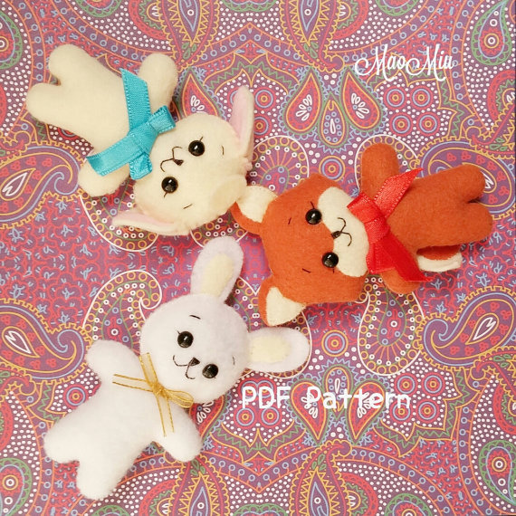 Mini Bunny , Fox and Lamb PDF Pattern - Cute Kawaii Plushie Felt Instant Download
