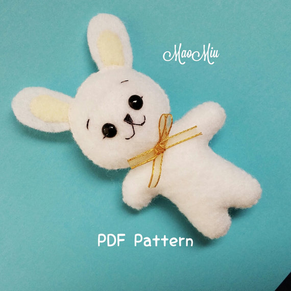 Mini Bunny PDF Pattern - Cute Kawaii Plushie Felt Rabbit Instant Download