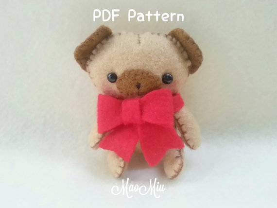 My Little Pet Puppy Pug Plush - PDF Pattern Instant Download