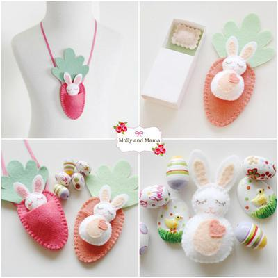 BITTY BUNNIES Felt Easter bunny & carrot