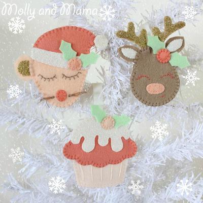 FESTIVE FELTIES Christmas felt ornaments