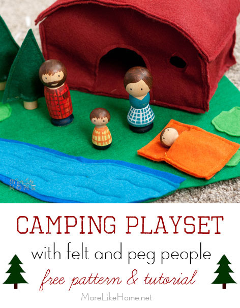 Camping Playset with Felt and Peg People