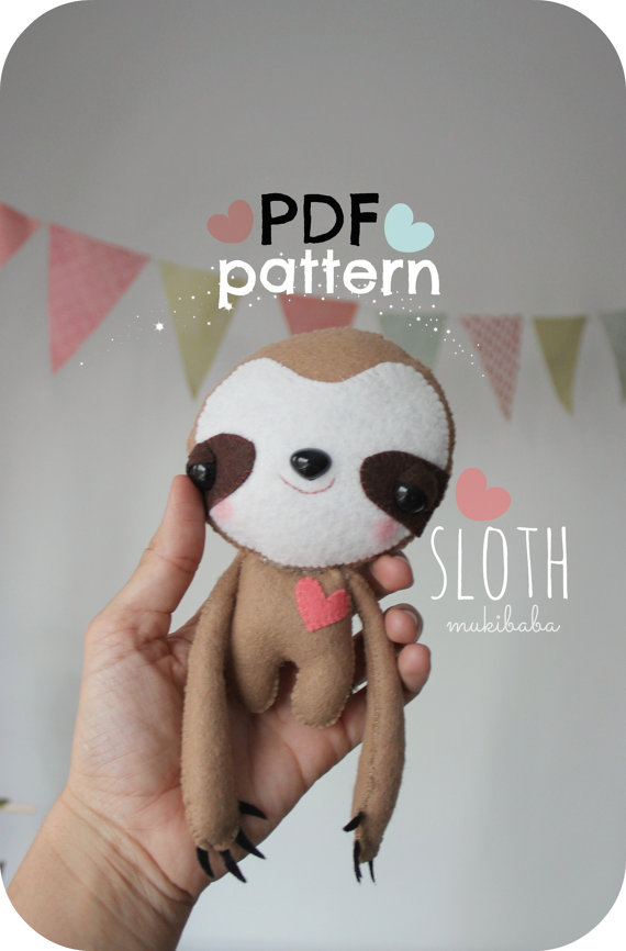 Sloth Plush PDF Felt Pattern