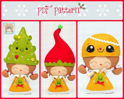 Chica elfo con sombreros de la Navidad: duende sombrero, sombrero de árbol de Navidad y sombrero de pan de jengibre