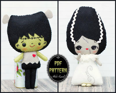 Frankenstein and the bride of Frankenstein pattern.