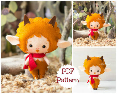 Greek Mythology. Faun. PDF pattern. Felt doll.
