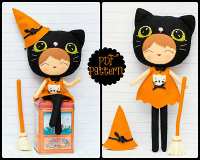 Halloween cat girl. Witch doll (PDF Pattern)