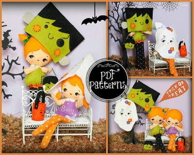 Halloween Franky and ghost dolls with masks and bags