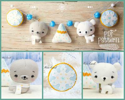 Patrón de PDF. Guirnalda de Polo Norte (Oso Polar, sello, copos de nieve y montaña)