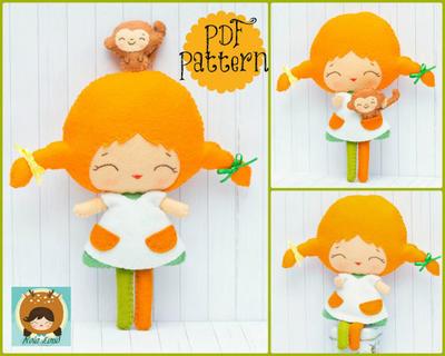 Patrón de PDF. Pippi y su mono. Patrón de muñeca.