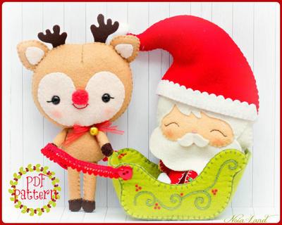 Patrón de PDF. Santa Claus, Rudolph, el Reno y trineo de Papá Noel.
