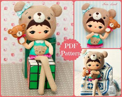 Patrón Muñeca oso Teddy PDF con una marioneta de oso